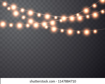 Christmas garland. Glowing Light bulbs. Vector xmas lights