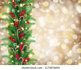 Christmas garland in golden bokeh background conception,it has free space on the right hand side and lettering quote,fairy stars are carrying by the wind twinkle along