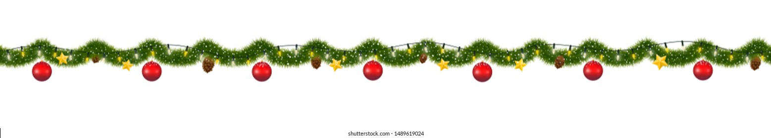 Christmas garland with lights. Seamless New Year tinsel with snow.