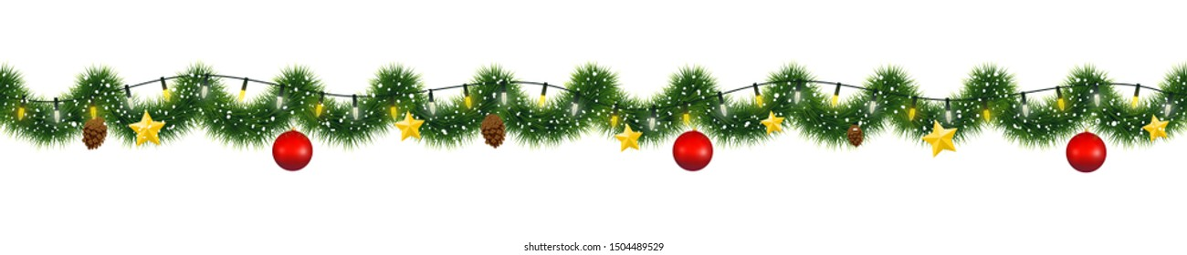 Christmas garland of mistletoe tinsel with festive lights and decorations of golden stars, pine cones and glass ornaments