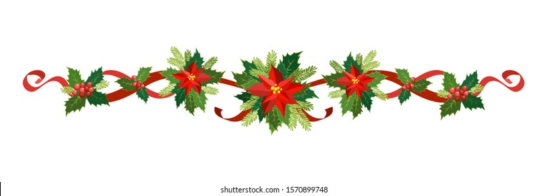 Christmas garland, New Year holiday decoration set. Vector illustration Christmas garland of holly with red berries, ribbons, poinsettia, fir-tree branches. Frame, border for Christmas cards, banners
