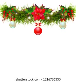 Christmas garland with poinsettia and cotton flowers, isolated on a white