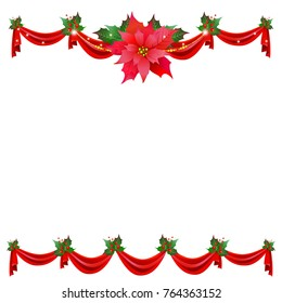 Christmas garland with poinsettia and red ribbons ,isolated on a white