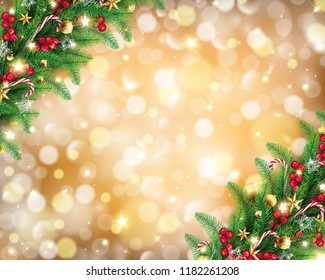 Christmas garland in rich golden bokeh background conception,it has free space on the middle with fairy stars are carrying by the wind and twinkle along