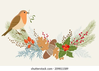 Christmas garland with Robin bird.