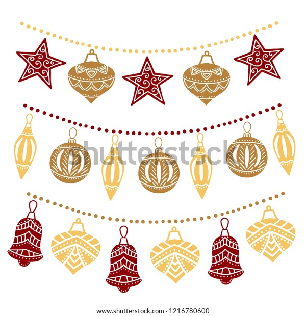Christmas Garland Drawing.Christmas Garland Sketch Drawing Your Design Stock Vector