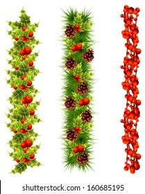 christmas garlands of fir tree, holly, red berries