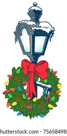 Christmas Gas Lamp. A classic, snow covered street light with a wreath and bow. Isolated vector graphic art suitable for ads, shirts, posters, banners and more.
