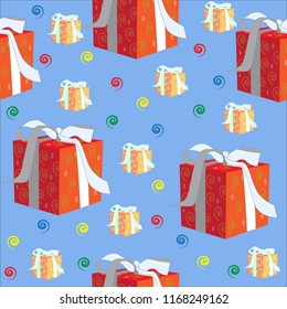 Christmas gift blue red orange package wrapped holiday ribbon seamless pattern