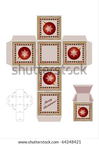 christmas gift box cutout template assembly stock vector royalty