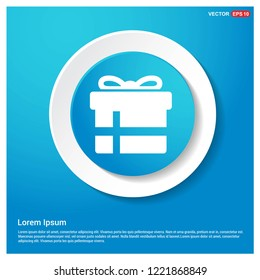 Christmas Gift Box Icon Abstract Blue Web Sticker Button - Free vector icon