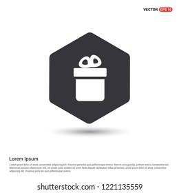 Christmas Gift Box Icon Hexa White Background icon template - Free vector icon