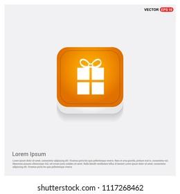 Christmas Gift Box Icon Orange Abstract Web Button - Free vector icon