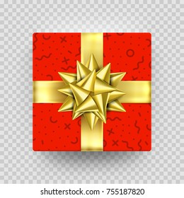 Christmas Gift box red present in golden ribbon bow and wrapping paper dotted pattern. Luxury Christmas gift box for Birthday, New Year holiday greeting card vector isolated on transparent background