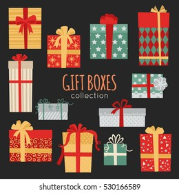 Christmas gift boxes collection vector illustration