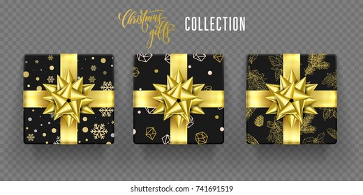 Christmas gift boxes of golden ribbon bow and. snowflakes and fir tree wrapper gold pattern. Vector gifts set for New Year or Christmas and Birthday greeting card on transparent background
