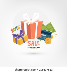 Christmas Gift Boxes. Sale Concept. Online Payments Service Icon. Credit Card and Money. Online Shopping.