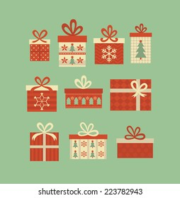christmas gift boxes set. vector illustration