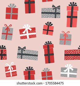 Christmas gift boxes vector pattern in retro style. Seamless background with gift boxes with bows. Illustration for greeting cards, invitations, posters.