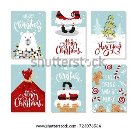 christmas gift cards or tags with lettering hand drawn design elements