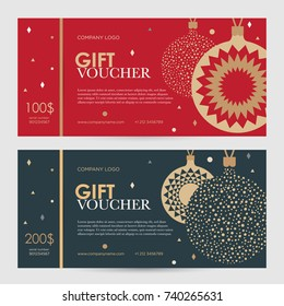 Christmas gift certificate. New Year gift voucher. Golden Christmas balls on a red and blue background.