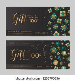 Christmas gift certificate template. Presents and snowflakes with sequins on a black background