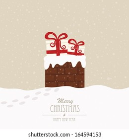 christmas gift in chimney winter background