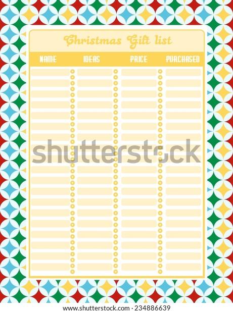 Christmas Gift List Stock Vector Royalty Free 234886639