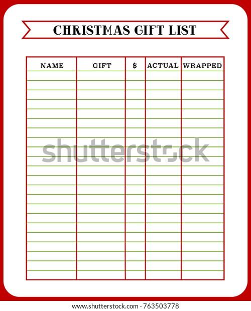 photo regarding Printable Christmas Gift List known as Xmas Present Record Refreshing Calendar year Xmas Inventory Vector (Royalty