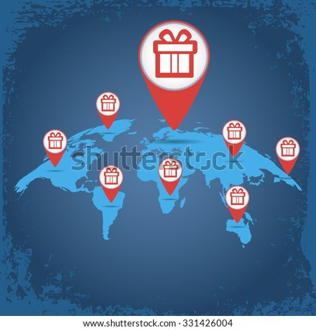 Christmas Gift On World Map Label Stock Vector (Royalty Free ...