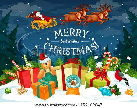 christmas gift and santa sleigh greeting card new year winter holiday present candy and