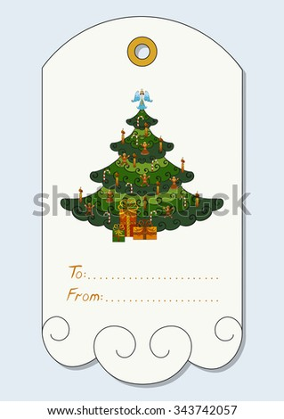 christmas gift tag with hand drawn christmas symbols christmas tree decorated with angel - Decorative Christmas Gift Tags
