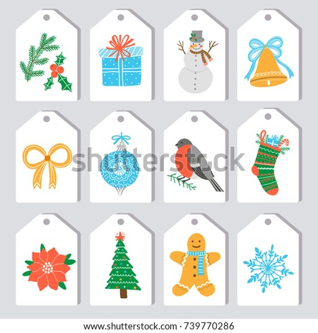 christmas gift tag label stock vector royalty free 739770286