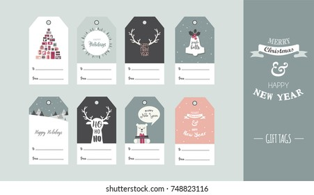 Christmas gift tag set in retro style . vector illustration design