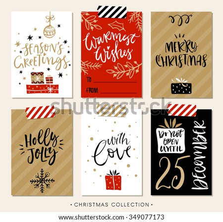 christmas gift tags cards calligraphy hand stock vector royalty