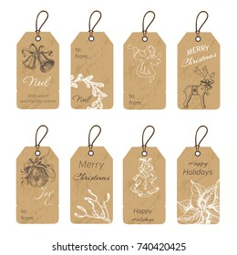 Christmas gift tags with hand drawing elements. Vector illustration sketch Holidays.