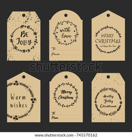 christmas gift tags with hand drawn wreath and lettering decorative garlands with calligraphy merry christmas - Decorative Christmas Gift Tags