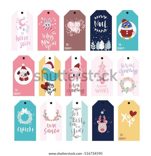 Christmas Name Tags.Christmas Gift Tags Holiday Name Tag Stock Vector Royalty