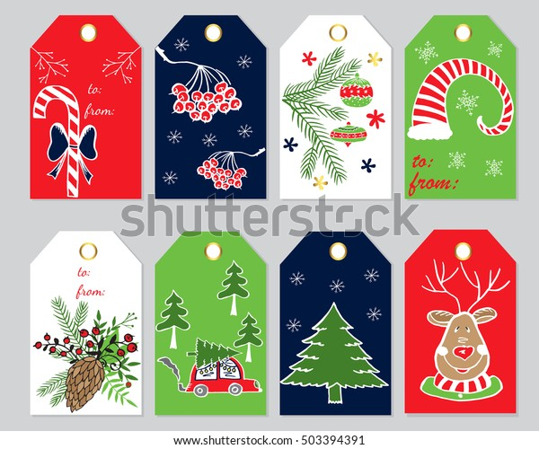 Christmas Gift Tag Template.Christmas Gift Tags Labels Template Greeting Stock Vector