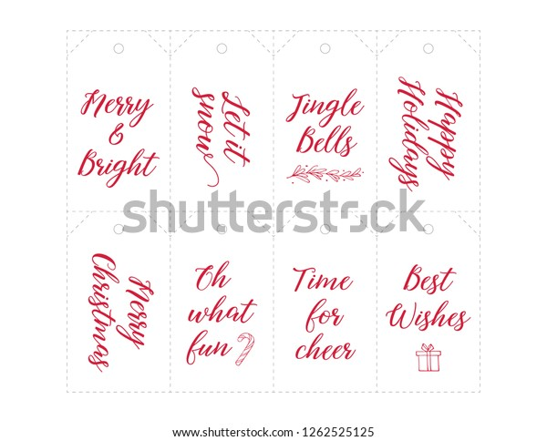 image relating to Printable Number Tags identified as Xmas Reward Tags Printable Handlettering Slice Inventory Vector
