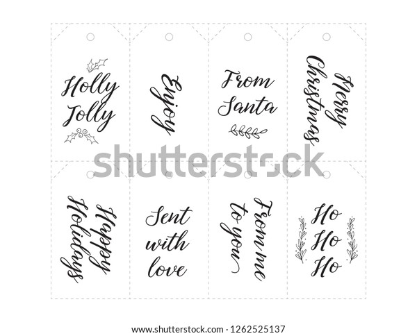 photo regarding Printable Number Tags named Xmas Present Tags Printable Handlettering Minimize Inventory Vector
