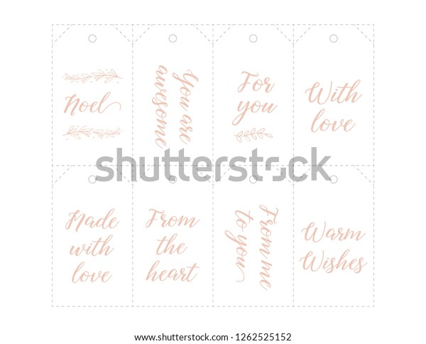 graphic relating to 5 Wishes Printable Version named Xmas Present Tags Printable Handlettering Reduce Inventory Vector
