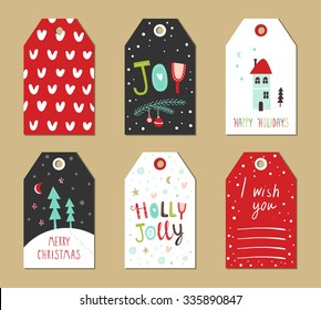 Christmas gift tags set. Vector illustration. Creative Hand Drawn textures for winter holidays. Bright colors.