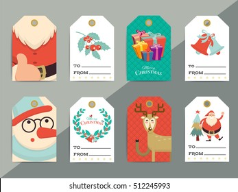 christmas gift tags baubles birds flowers stock vector royalty free