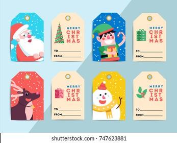 vintage christmas gift tags set hand stock vector royalty free