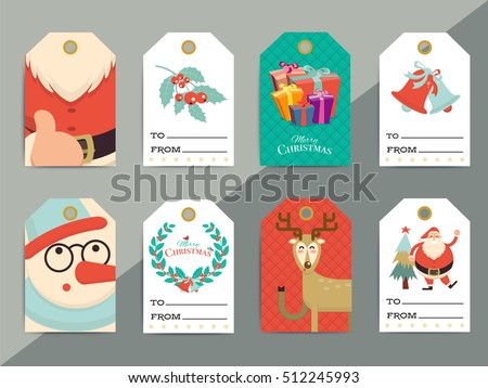 christmas gift tags template set vector printable xmas box or letter tag labels design