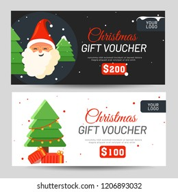 Christmas Gift Voucher with best discount value, Santa Claus and xmas tree for Festival celebration.
