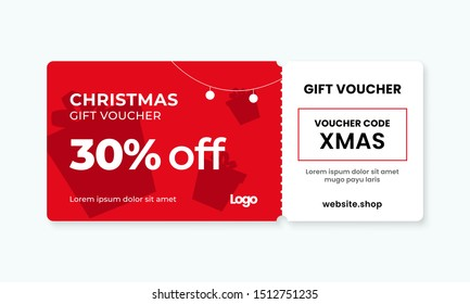 Christmas gift voucher card template vector illustration. 30% off sale coupon code promotion.