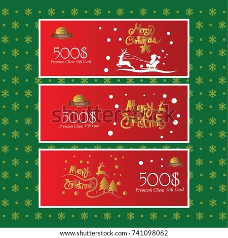 christmas gift voucher certificate coupon template stock vector