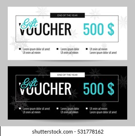Christmas Gift Voucher Coupon discount. Elegant gift certificate template for Merry Christmas. Shopping concept.  Vector flat illustration